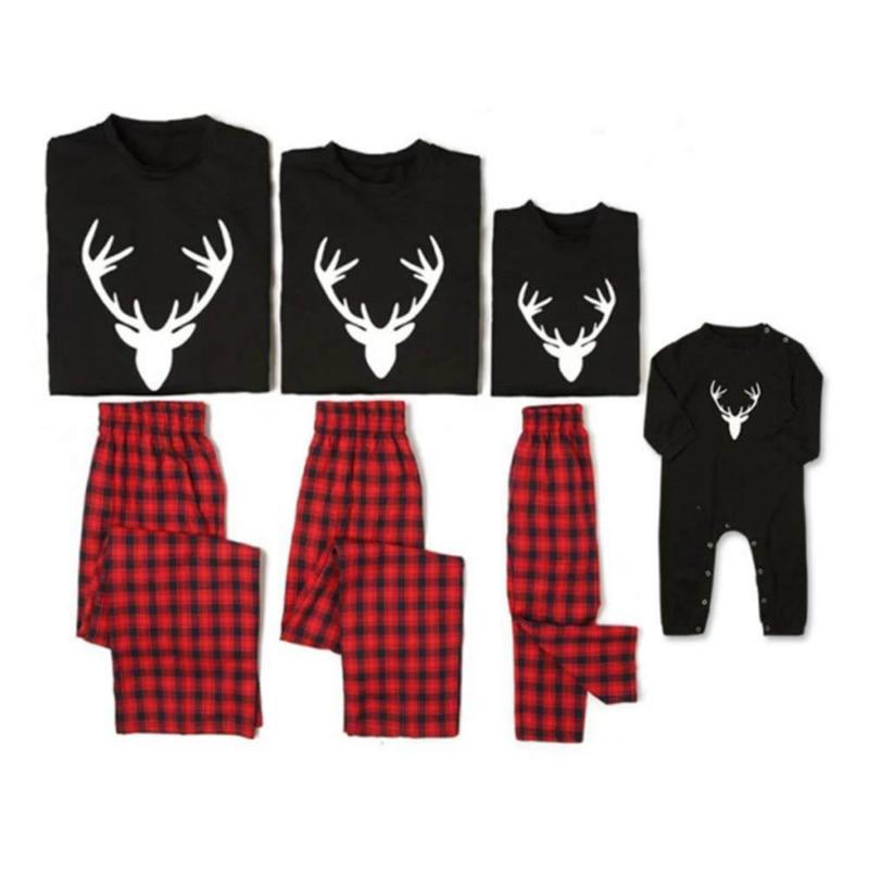 Christmas Family Suit Christmas Set Women's Men's Children Black Reindeer Christmas Pajamas Clothing Family Christmas Pajama Set