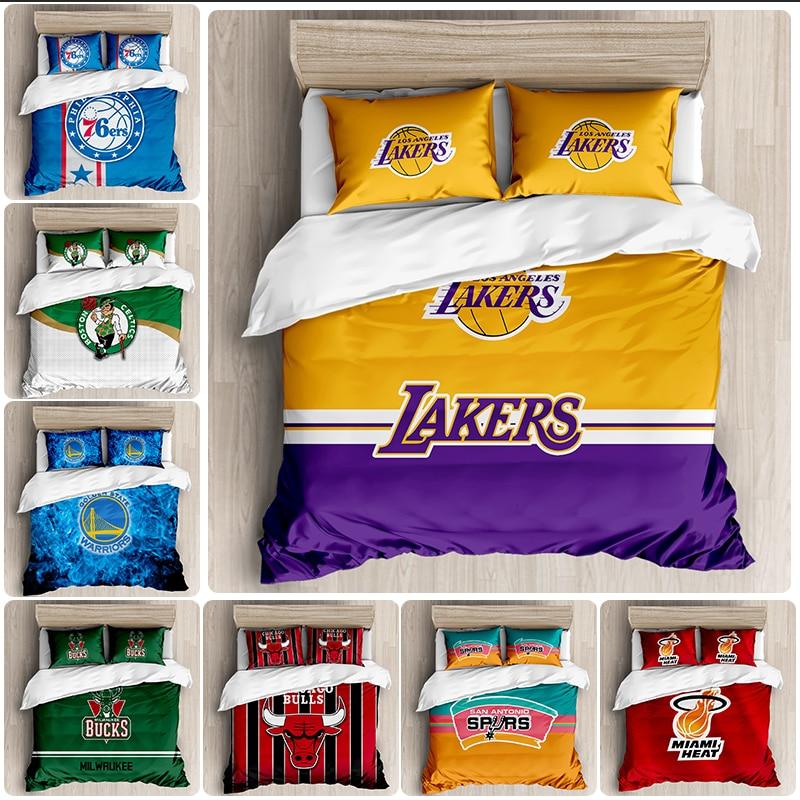 NBA Team Bedding Basketball Club Player Duvet Cover Winter Duvet Cover Pillowcase Boys' Family Dormitory Single Double Bed Set