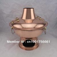 32cm China copper hot pot thickened MongoljEn Chinese charcoal copper fondue soup pot copper handmade cooking chafingdish