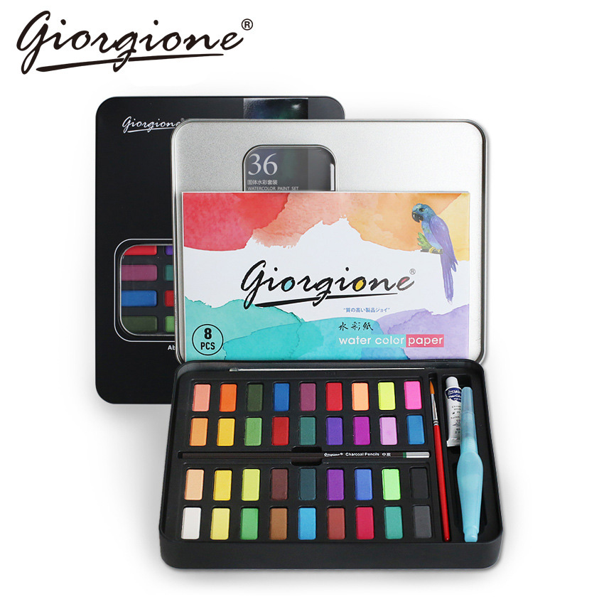 Giorgione 36 48 Colors Watercolor Painting Set Metal Iron Box Pocket Solid Water Color Pigment Paint For Drawing Art Supplies