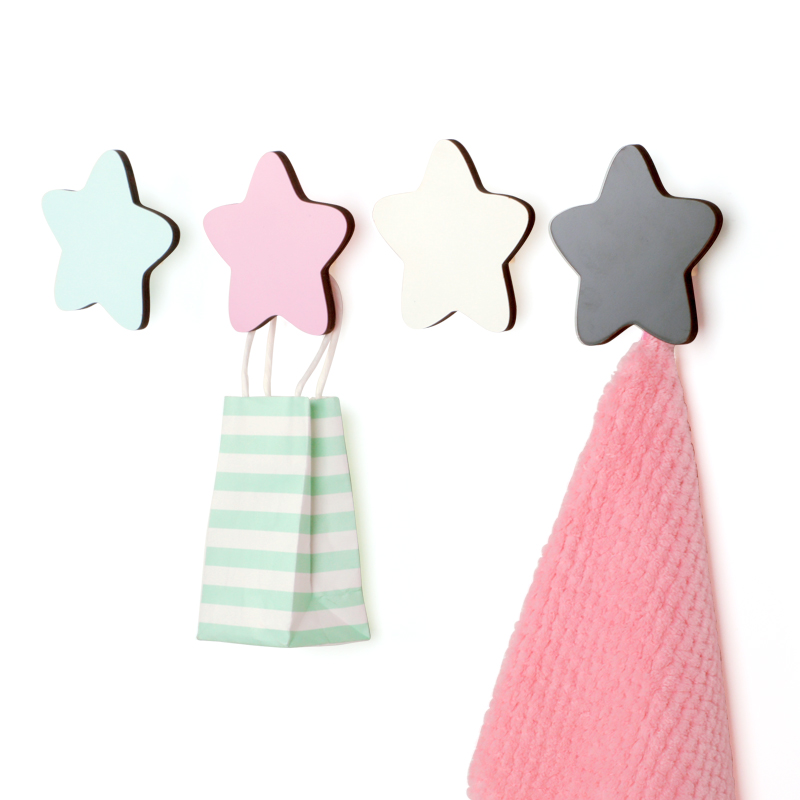 1 Set Natural Wood Clothes Hanger Wall Mounted Household Rack Star Cloud Coat Hook Key Holder Hat Scarf Handbag Storage Hanger