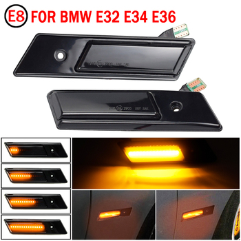 2PCS Dynamic Blinker Indicator Side Marker Turn Signal Light For BMW 3 5 7 Series E32 E34 E36 1990-1996 LED Sequential Lamp image