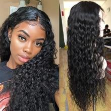 Водная волна человеческих волос парики 13X4 Синтетические волосы на кружеве парики для Для женщин сапфир волос 150% плотность волнистые Синтетические волосы на кружеве парики из натуральных волос