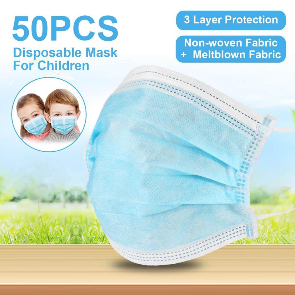 50Pcs Children's Dustproof Disposable Earmuffs 3 Layers Dustproof Face Mask Face Protective Mask Child Mask Mascaras Infantiles