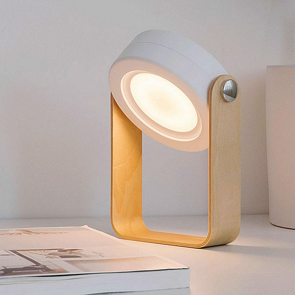 New Creative Wooden Handle Charging Night Light Reading Lamp Portable Lantern Lamp Telescopic Folding Led Table Lamp