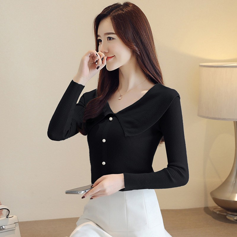 Autumn Sweet Button Sweater Temperament Kintted Long Sleeve Turn-down Collar Black Sweater Fall Winter Clothing