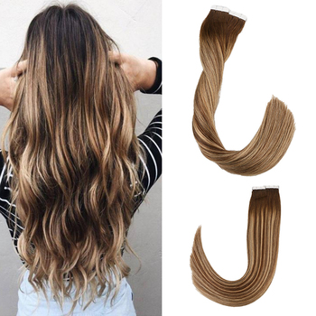 Toysww Balayage Tape in Hair Extensions Remy Human Hair 20g 40g/pack Straight Seamless Skin Weft Tape Hair Extensions isheeny remy human hair tape extensions straight 12 22 skin weft seamless hair extension samples for salon hair testing