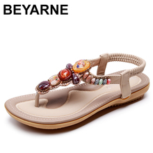 BEYARNE Bohemian kadın sandalet taş boncuklu terlik yaz plaj sandaletleri kadın Flip flop bayanlar düz sandalet ayakkabı