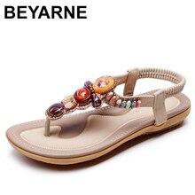 BEYARNE sandały damskie w stylu boho kamień zroszony kapcie letnie sandały plażowe damskie klapki płaskie sandały damskie