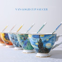 Van Gogh Painting Bone China Ceramic Coffee Cups with Spoon and Tray Coffeeware Sets