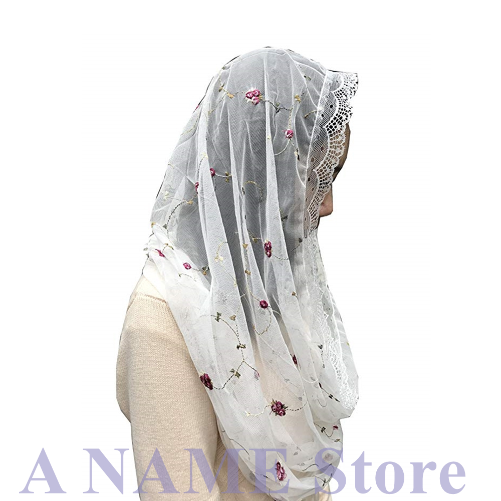 Women Round Floral Tulle Lace Veil For Church Mantilla Head Covering Wrap Vintage Chapel Veil Latin Mass Black Ivory Velos Negra
