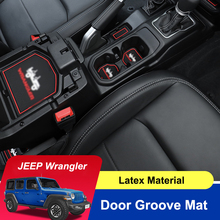 QHCP Car Gate Slot Mat Non Slip Latex Door Pad Groove Mats Protection Red Blue White For Jeep Wrangler 2018 Interior Accessories