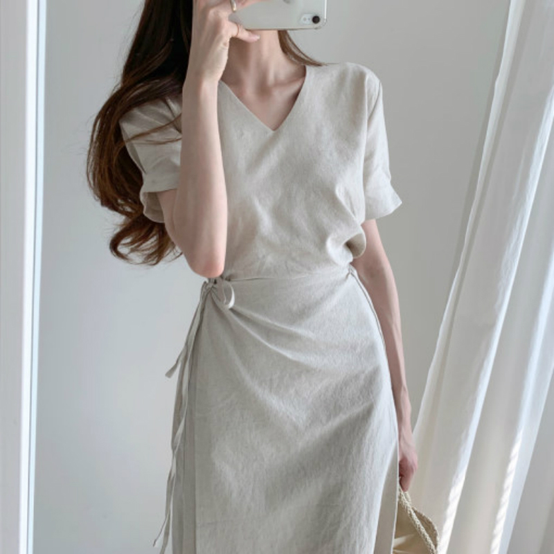 Elegant Wrap Dresses Women Summer Sexy V Neck Cotton Bodycon Short Sleeve Fake Two Piece Solid Color