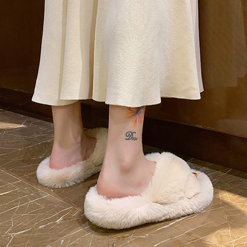 Women Slippers Warm Winter Fur Fluffy Plush House Slippers Fashion Soft White Pink Flat Platform Slides Shoes For Home AVT201
