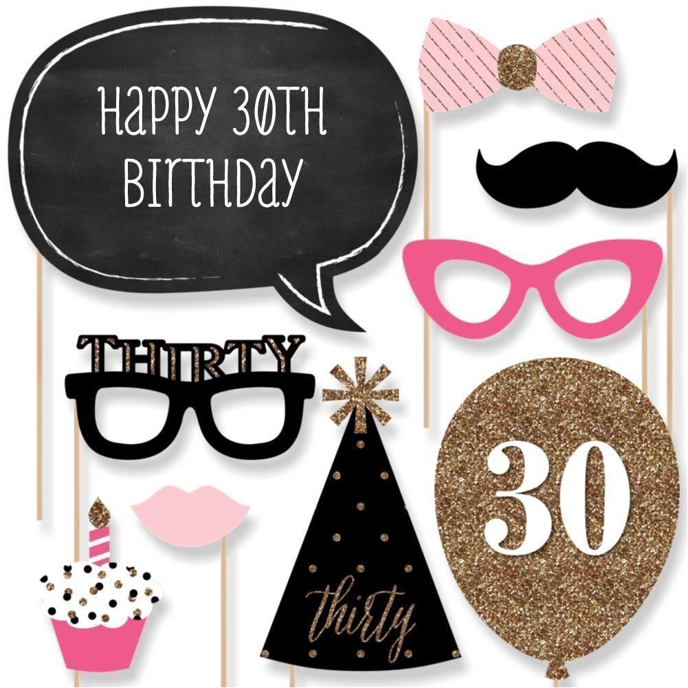 20pcs/set Party Supplies Home Photo Prop Photobooth 30th Birthday Accessories Mask Moustache DIY Men Women Reusable Decoration
