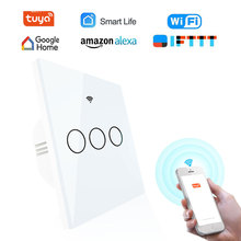 New Arrival Wifi Wall Smart Touch Switch EU Plug Light Switch 1 2 3 Gang 220V Tuya Smart Home Control Support Alexa Google Home