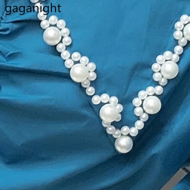 Gaganight Fashion Women Beading Blouse Solid Long Sleeve Shirt Office Lady Spring Autumn Blusas Chic Korean Blouses Slim Shirts 6