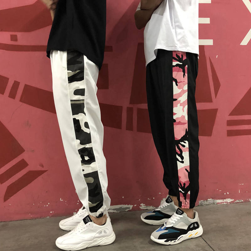 Camouflage Mixed Colors Hip Hop Casual Beam Leg Couples Athletic Pants Men And Women Summer Thin Pants
