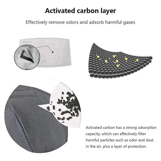 100 PCS 5 Layers PM2.5 Activated Carbon Filter Insert Protective Filter Media Insert for mouth Mask anti dust masks filter 4