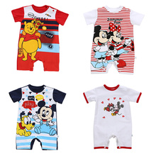 Baby Boy Clothing Mickey Baby Rompers Disney Kids Clothing Minnie Rompers Roupas Bebes Infant Jumpsuit Newfashion Boys Clothes cheap COTTON Polyester cartoon O-Neck Covered Button Unisex Short Fits true to size take your normal size Cotton Polyester