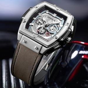 Image 2 - ONOLA tonneau kwadratowy automatyczny zegarek mechaniczny mężczyzna luksusowa marka unikalny zegarek na rękę moda casual klasyczny projektant zegarek męski