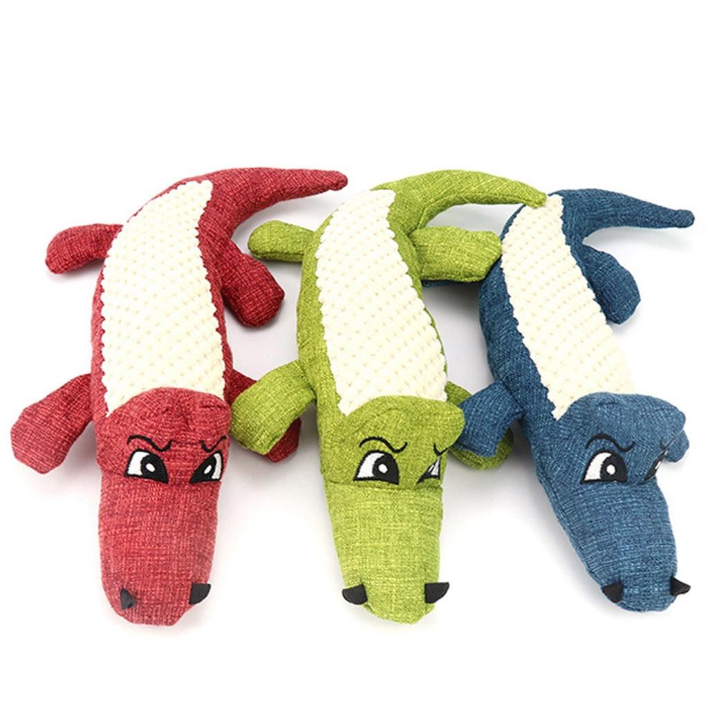 Забавные мягкие игрушки для собак и кошек, жевательные игрушки, имитация крокодила, генератор встроенного звука, плюшевые игрушки-пищащие животные-2