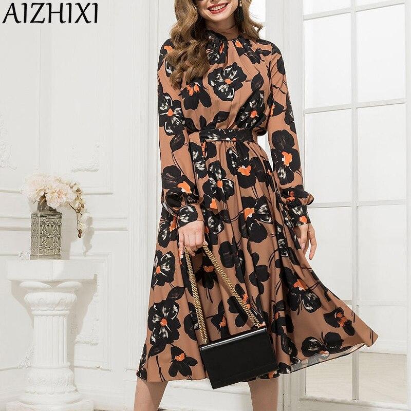 AIZHIXI Vintage Mock-neck Women Dress Autumn Long Sleeves Sashes Slim A-Line Printed Dress Midi Party Dresses Plus Size