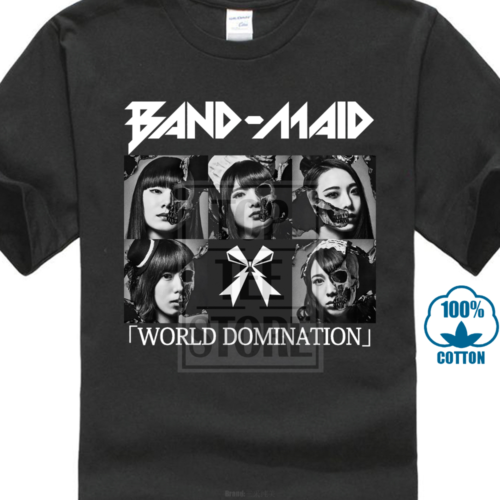 Band Maid World Domination Black Men T Shirt Size S 3xl 100% Cotton Short Sleeve Summer T Shirt Interesting Print T Shirt Men
