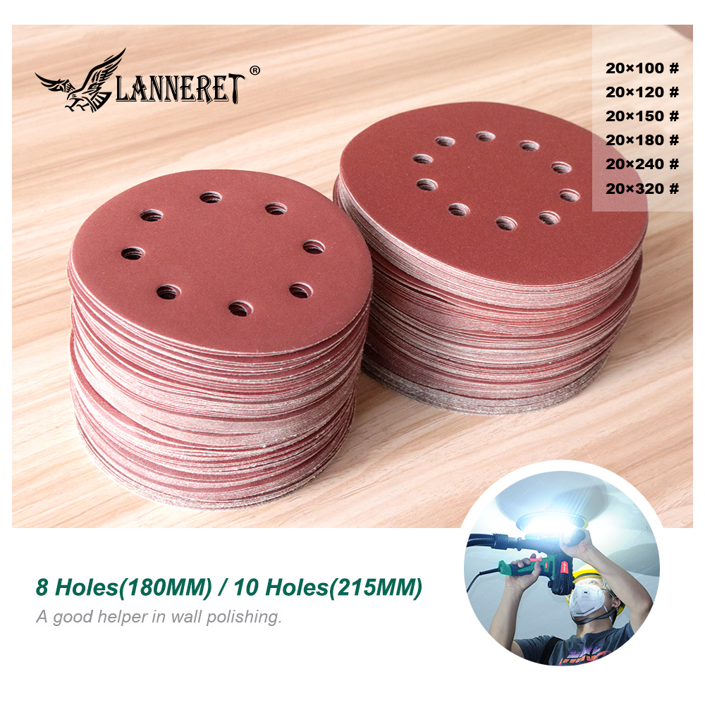 LANNERET Sanding Paper 215mm Holes Sanding Paper 100-320grit Electric Drywall Sander Polisher Aluminium Oxide Hook And Loop
