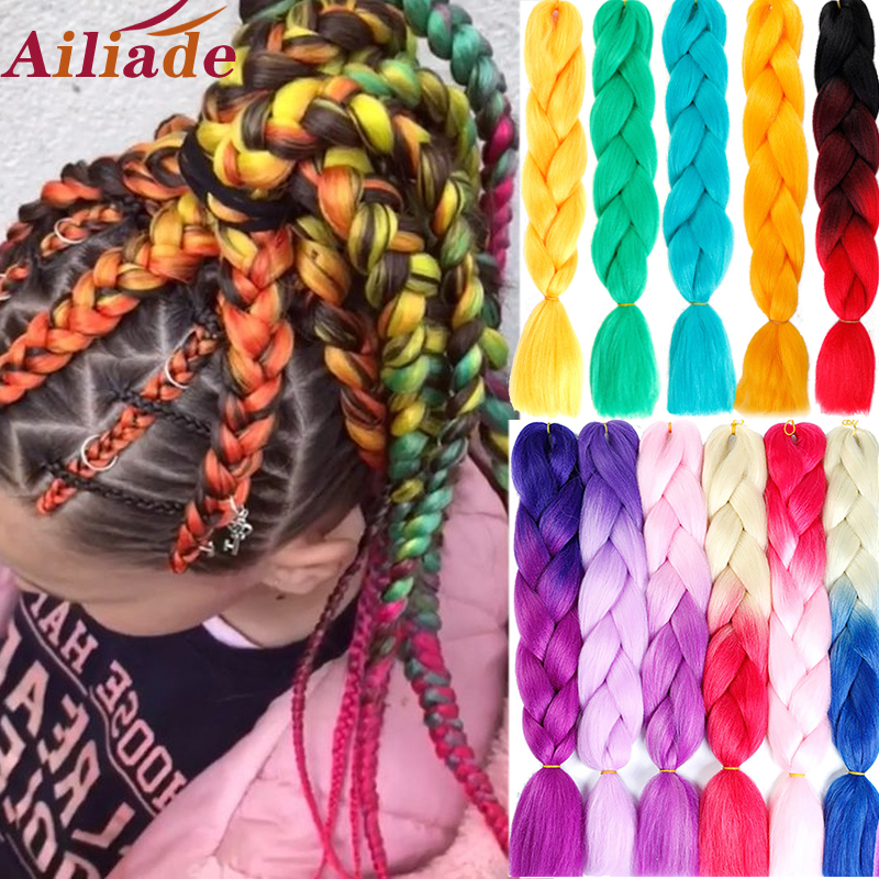 AILIADE Synthetic Crochet Box Braids Kanekalon Ombre Pre Stretched Jumbo Braiding Hair Extensions Pink Bundle Women Dreadlocks