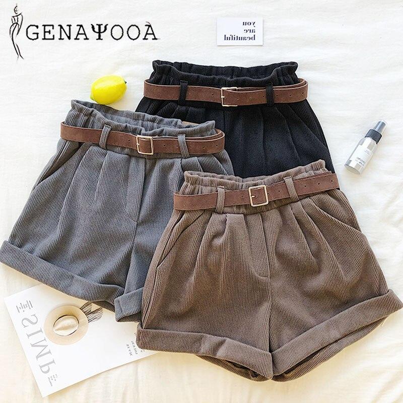 Genayooa High Quality High Waist Ladies Shorts Women Korean Summer Women Shorts With Belt Short Feminino 2020 Hot Vintage