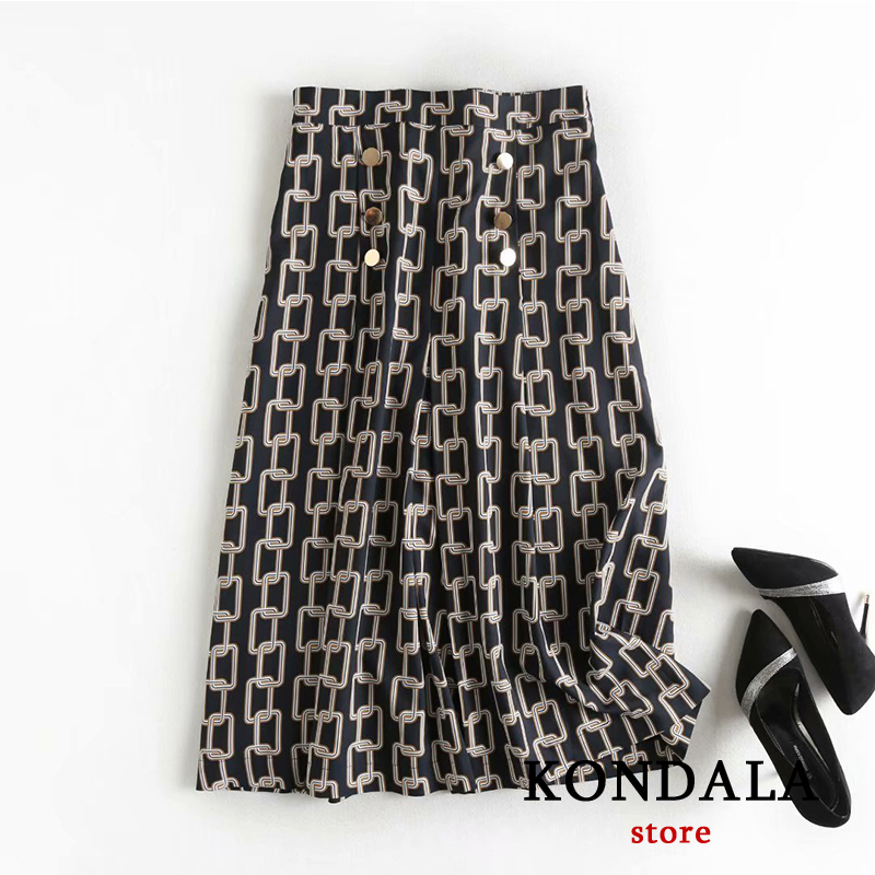 za 2020 women england office lady urban elegant Iron chain print midi skirt faldas mujer moda high waist elastic long skirts