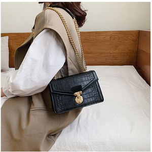Image 2 - Retro Alligator Bags For Women 2020 Luxury Designer Leather Handbag Girls Casual Chain Shoulder Crossbody Bags Square Flap Bag