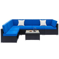 Fully Equipped Weaving Rattan Sofa Set with 2pcs Middle Sofas & 4pcs Single Sofas & 1 pc Coffee Table Black Embossed Woven