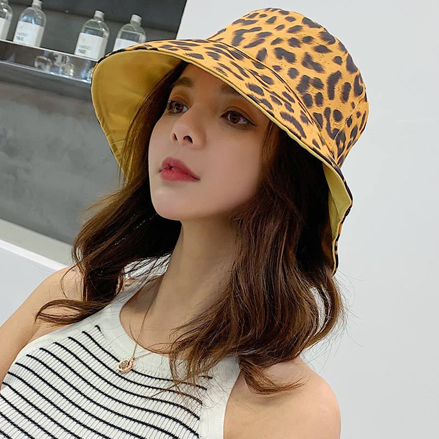 Sombrero Doble estampado de leopardo de algodon transpirable