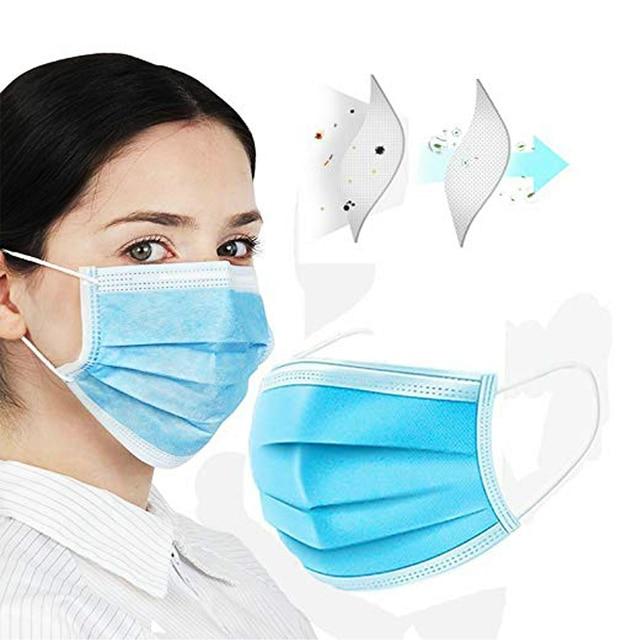 Non Woven Disposable Face Mask 3 Layer Hanging ear Safety Elastic Facial Safety Masks 2