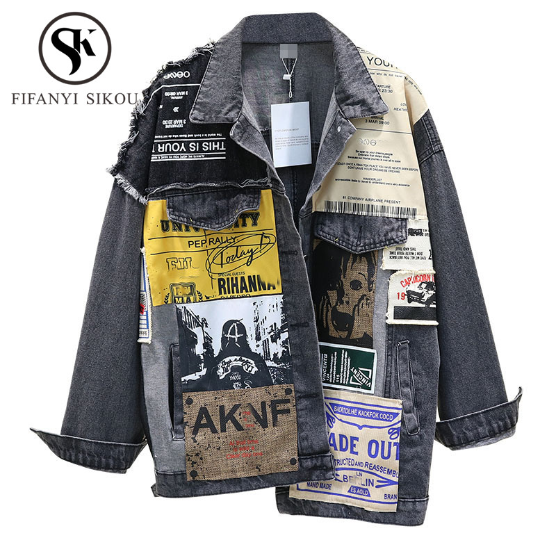 Hip hop Denim Jacket Women Fashion Print Long sleeve Vintage Bomber Jacket Coat Loose Washed Jeans Jacket Women Outerwear