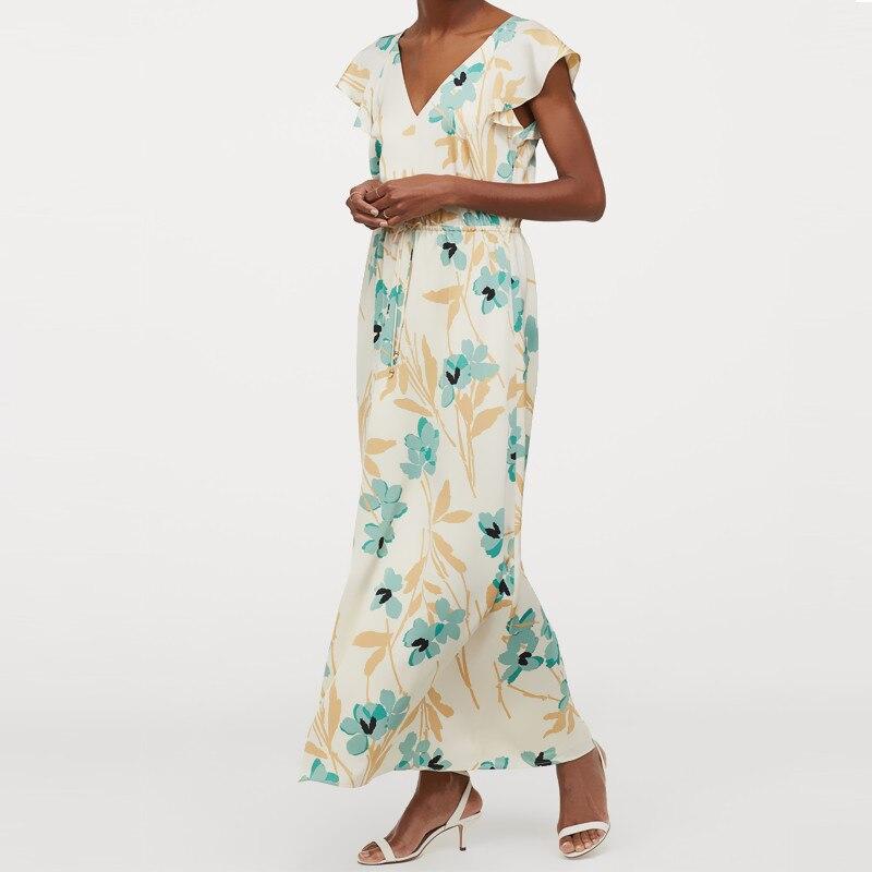 Za Print Summer Maxi Dress Women 2020 Butterfly-sleeve V-neck Elasticized Seam At Waist Drawstring Elegant Pleated Long Dresses