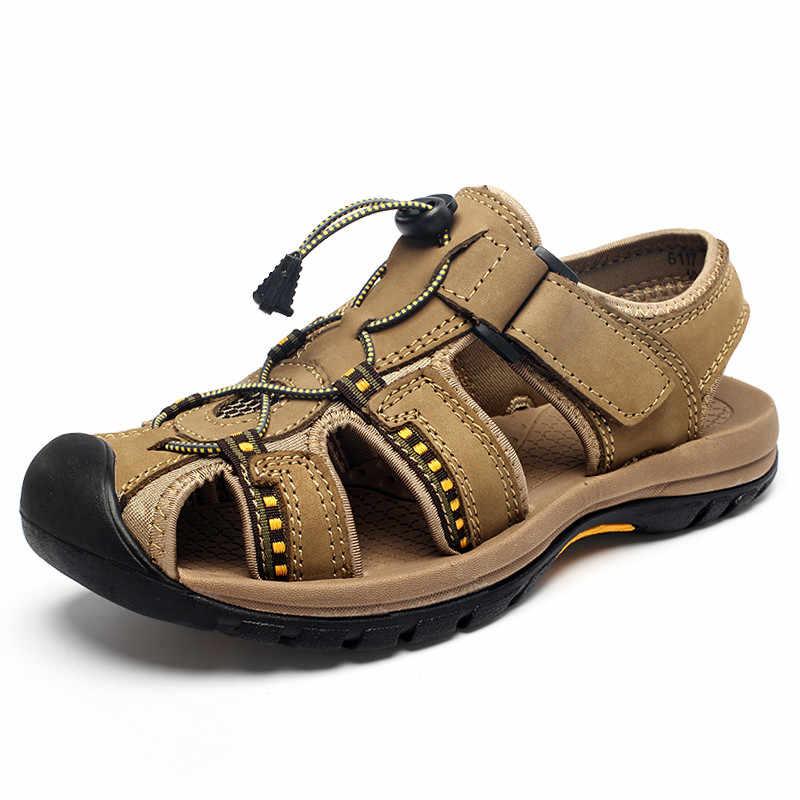 Zomer Canvas Sandalen Mannen 2020 Outdoor Strand Trekking Rubber Sportschoenen Mannelijke Ademende Barefoot Wandelen Sandalias Casual Schoenen