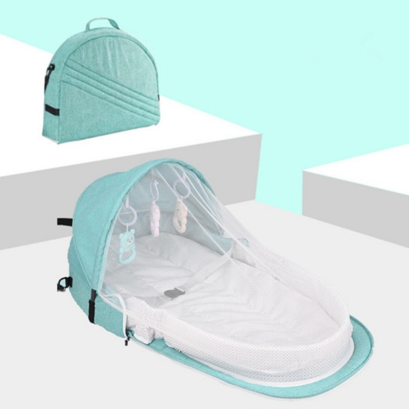 Brazil Baby Bed 3pcs Green Color Travel Sun Protection Net With Portable Bassinet Baby Foldable Breathable Sleeping Basket