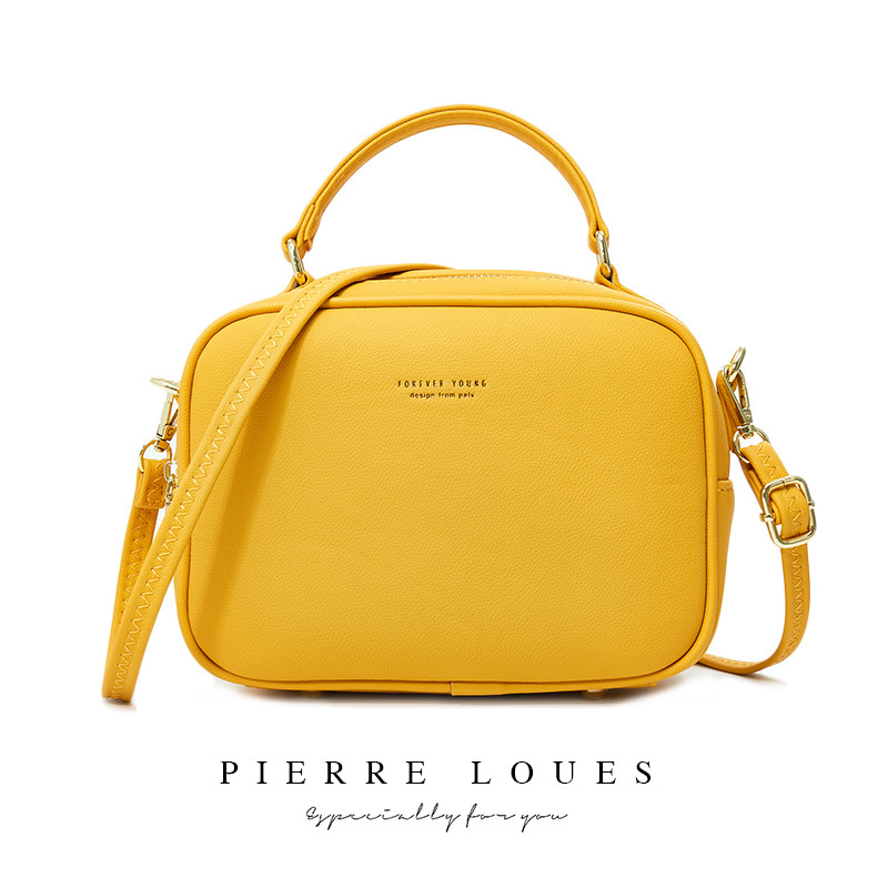 Pierre Loues Messenger Bag Women PU Leather Women Bag Fashionable Simple Leisure Shoulder Bag Women Solid Color Female 2020