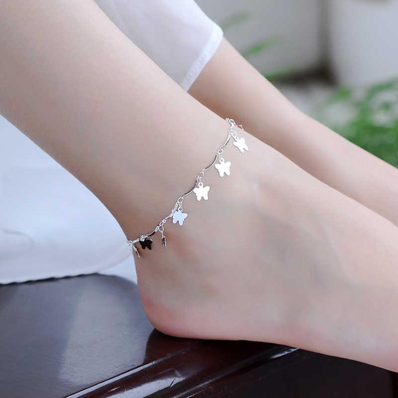 Новое поступление, богемные 925 пробы браслеты на ногу с серебряным сердцем, пляжные браслеты на ногу, цепочка для женщин и девушек, ювелирное изделие, подарок