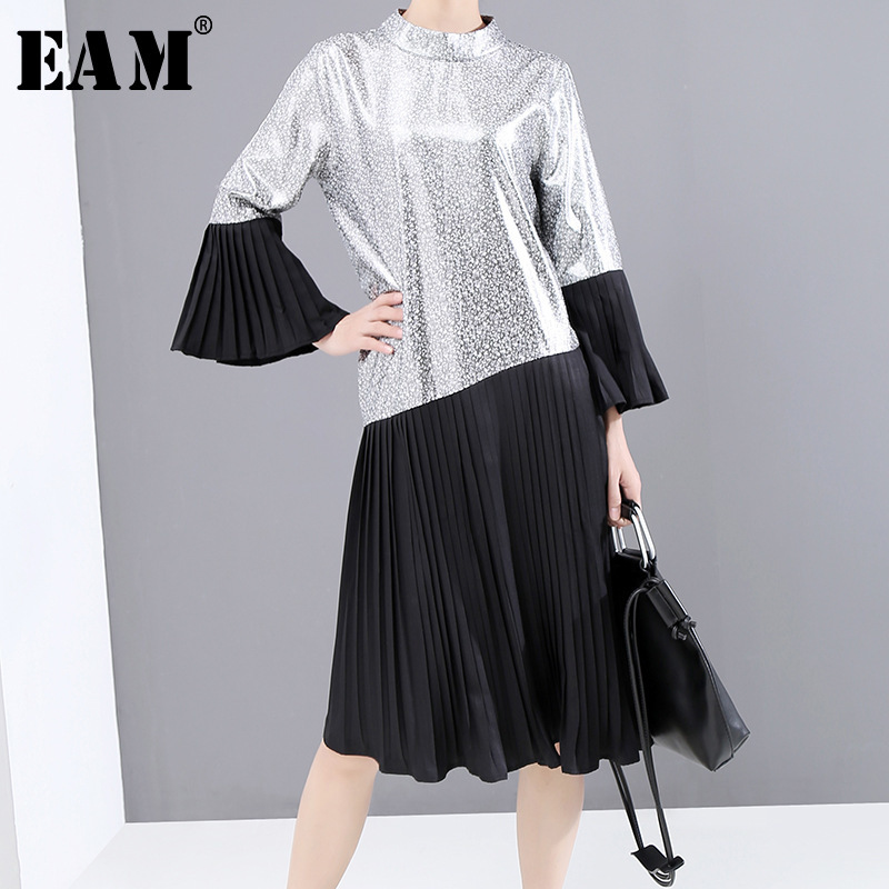[EAM] Women Black Pleated Split Joint Temperament Dress New Stand Collar Long Sleeve Loose Fit Fashion Tide Spring Autumn 2020