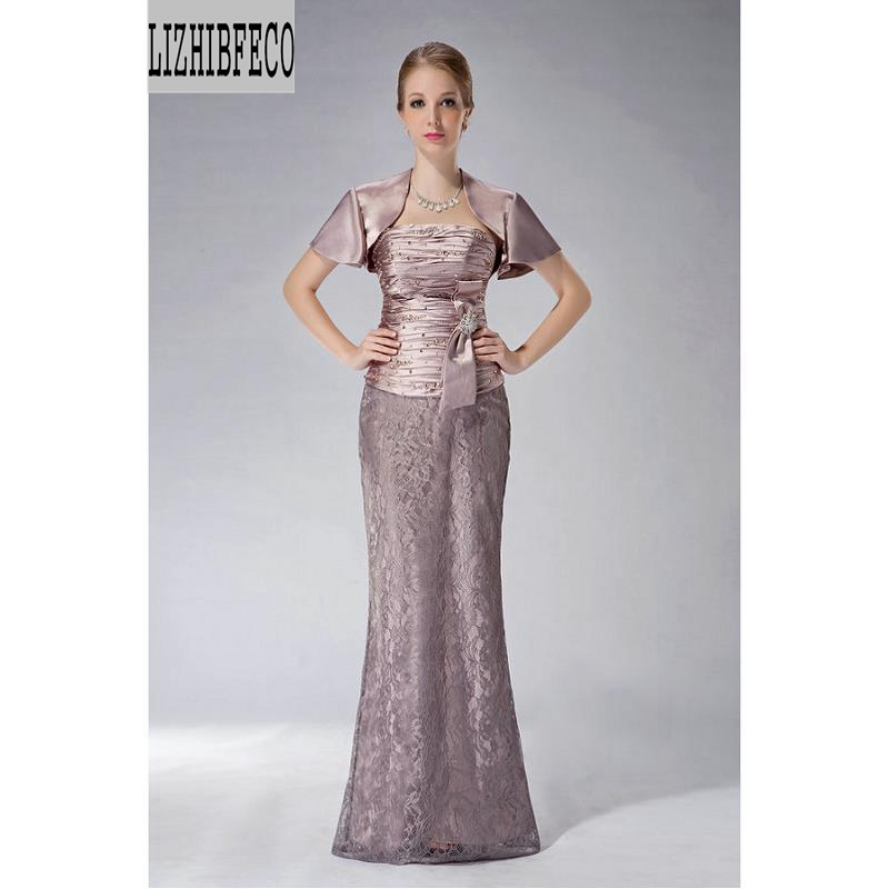 Satin Lace Beading Floor-Length Mermaid /Trumpet Mother Of The Bride Dress With Wrap Custom Made
