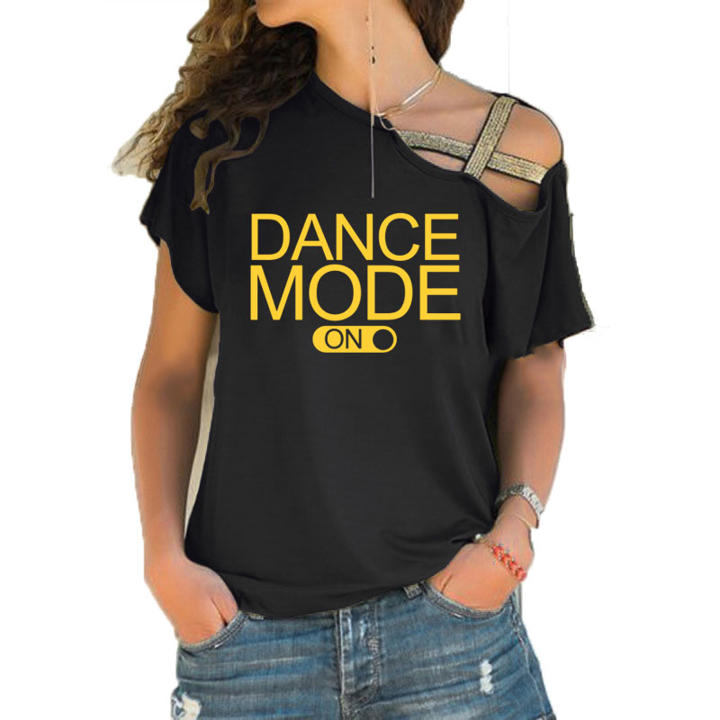 Dance Mode On Letters Print Women Tshirt Cotton Casual T Shirt For Lady Girl Irregular Skew Cross Bandage Top Tee Hipster Tumblr