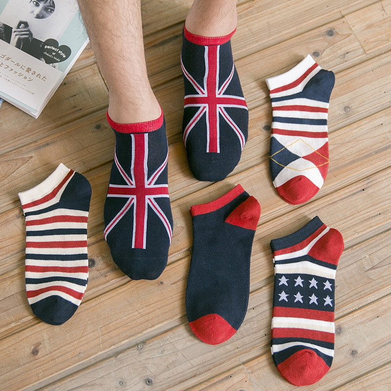 British Style Uk Fashion Stripes Series Casual Business High Quality Comfortable Breathable Short Tube Men Low Cut Cotton Socks