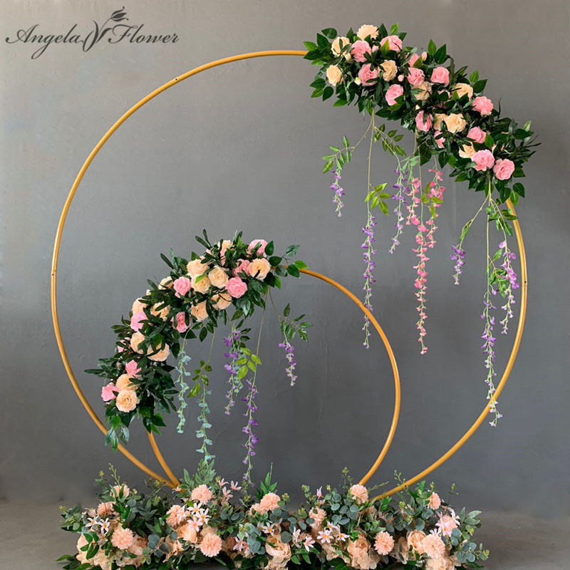Wedding arch wrought iron round ring arch artificial flower decor birthday party celebration wedding props flower stand shelf-in Artificial & Dried Flowers from Home & Garden