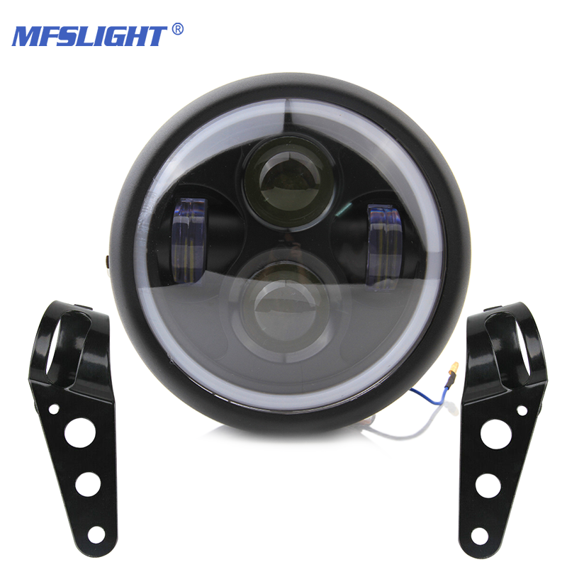 Retro 6.5 LED Motorcycle Headlight Headlamp Bracket Angel Ring Hi&Lo Beam Bulb For Harley Sportster Cafe Racer Bobber