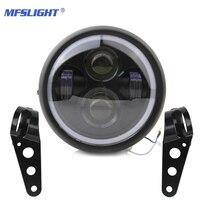 Retro 6.5 LED Motorcycle Headlight DRL Moto Headlamp Bracket Angel Ring Hi&Lo Beam Bulb for Harley Sportster Cafe Racer Bobber