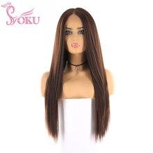 Soku Yaki recto pelucas sintéticas Natural negro pelo marrón peluca con malla frontal 26 pulgadas de largo Mniddle parte peluca para las mujeres negras diario